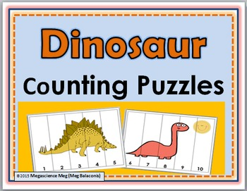 Dinosaur Math Counting Puzzles Numbers 1-10