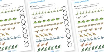 Dinosaur Counting Worksheet