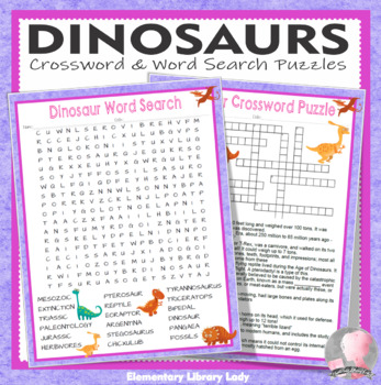 Dinosaurs Activities Crossword Puzzle and Word Search Find