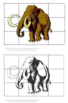 Dinosaurs Cut and Paste Puzzles Kindergarten, Preschool Special Education Math