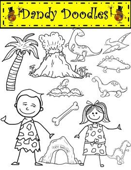 Dinosaur Days (Bright Colors) Clip Art by Dandy Doodles