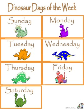 Dinosaur Days of the Week--Add on for the Calendar Set