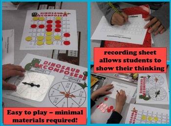 Dinosaur Decomposers decomposing fractions games & printables set