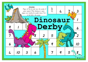Dinosaur Derby 0 - 10 Board Game