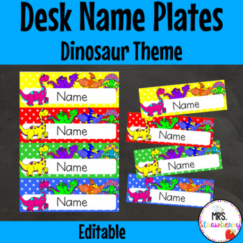 Dinosaur Desk Name Plates | Labels **Editable**