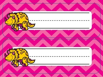 Dinosaur Desk Nameplates {Bright Chevron}