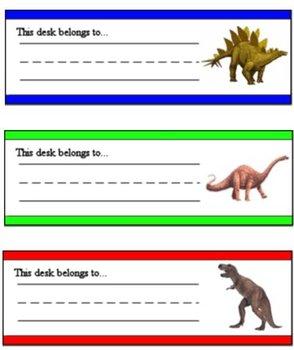 Dinosaur Desk Tags