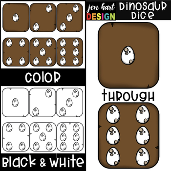 Dinosaur Dice Clip Art {jen hart Clip Art}