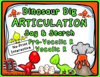 Dinosaur Articulation Say & Search PreVocalic & Vocalic R