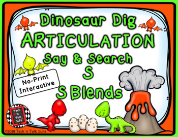 Dinosaur Dig Articulation Say and Search S and S BLENDS