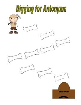Dinosaur Digging for Antonyms Memory Game