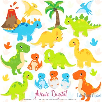 Dinosaur Digital Clipart, Cute animals illustrations