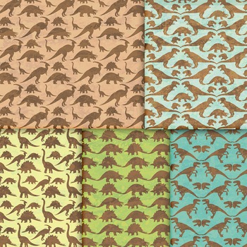 Dinosaur Digital Paper, 10 Handmade Printable Jurassic Backgrounds