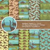 Dinosaur Digital Paper, 10 Handmade Printable Jurassic Bac