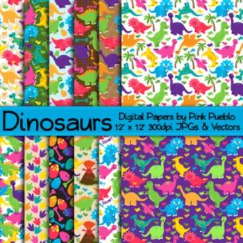 Dinosaur Digital Paper Pack, Dinosaur Scrapbooking Paper