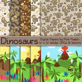 Dinosaur Digital Papers, Dinosaur Scrapbook Papers, Dinosaur Background Patterns