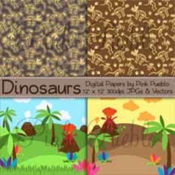Dinosaur Digital Papers, Dinosaur Scrapbook Papers, Dinosaur Background Patterns