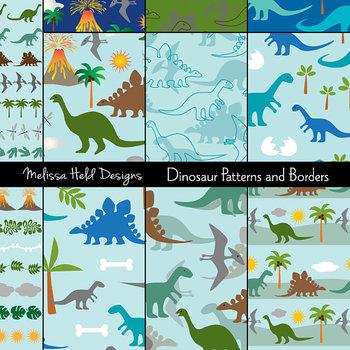 Dinosaur Digital Patterns and Borders