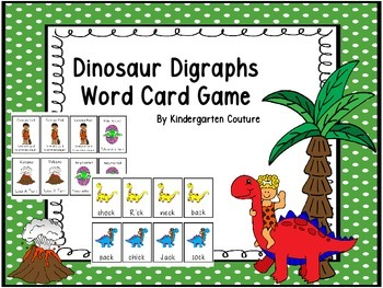 Dinosaur Digraphs Word Card Game