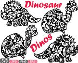 Dinosaur Dinos pack Mascot Flower Clipart zoo circus trex fossil Birthday -460s
