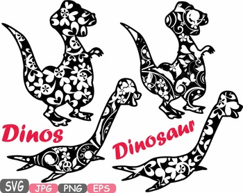 Dinosaur Dinos pack Mascot Flower Clipart zoo circus trex fossil Birthday -461s