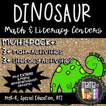 Math and Literacy Centers for Pre-K, Preschool and Kindergarten, Dinosaur Theme