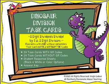 Division Task Cards {Dinosar Themed & QR Codes}: 2 Digit ÷ 1 & 2 Digit Divisors
