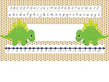 Dinosaur Dnealian Nametag w/ Number Line