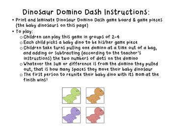 Dinosaur Domino Dash (Addition & Subtraction Game)