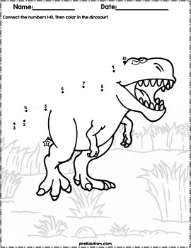Dinosaur Dot To Dot 1 10 By Prekautism Teachers Pay Teachers