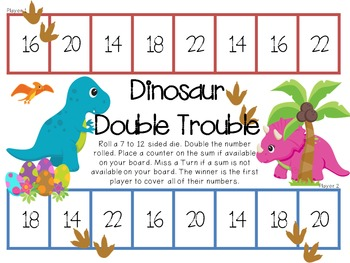 Dinosaur Double Trouble Game for doubles 1-6 and 7-12