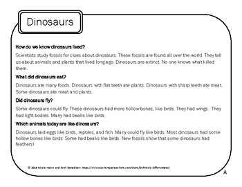 Dinosaur Drawing Conclusions - Differentiated Game