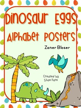 Dinosaur Egg Themed Alphabet Posters Zaner Bloser Font