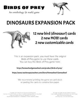 Dinosaur Expansion Pack to Bird of Prey Printable Card Game