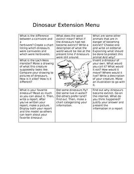 Dinosaur Extension Menu