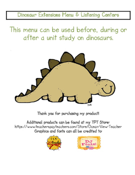 Dinosaur Extensions Menu & QR Code Listening Centers