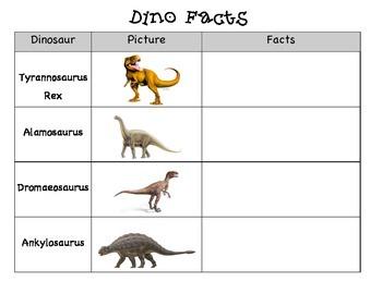Dinosaur Fact Organizer
