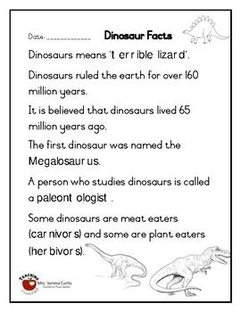 Dinosaur Fact Sheet