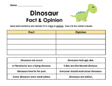 Dinosaur Fact and Opinion