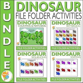 Dinosaur File Folder Activities for Early Childhood Education Bundle