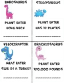 Dinosaur Flash Cards, Preschool, Kindergarten, 1st Grade