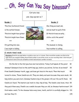 Dinosaur Fluency Practice