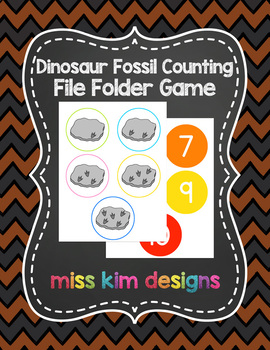 Dinosaur Fossil Counting File Folder Game for Special Education