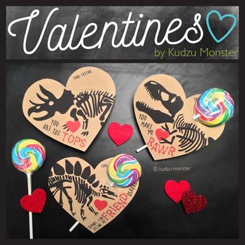 Dinosaur Fossil Heart Valentines