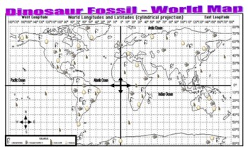 Dinosaur Fossil World Map (latitude / longitude) - questions / key / display
