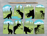 Dinosaur Gift Tags - 10 Handmade Dinosaur Party Favors and Thank You Tags