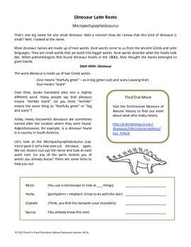 Dinosaur Greek and Latin Roots