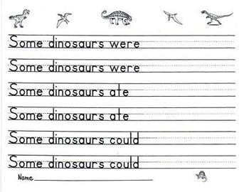Dinosaur Handwriting Prompt Paper Two