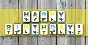 photo about Happy Birthday Printable Banner referred to as Dinosaur Joyful Birthday Printable Banner