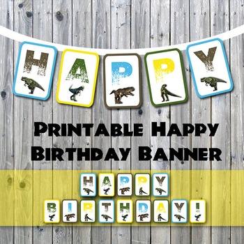 Dinosaur Happy Birthday Printable Banner